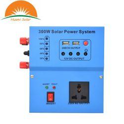 300W portátiles solares de uso doméstico Sistema de iluminación de la energía solar todo en un inversor