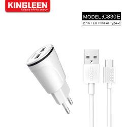 EU プラグデュアルポート 2.1A USB 携帯電話用ホームウォール タイプ C ケーブルおよび LED ライト付きトラベルクイックスピードチャージャ