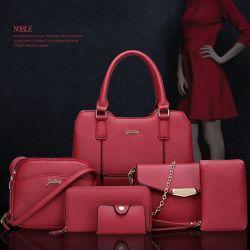 Litchi Pattern 6 pcs occasionnel pu designer de mode en cuir sacs fourre-tout