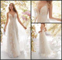مزلزل العروس هاسباجيتى شامبانيا تولة فساتين زفاف B6896