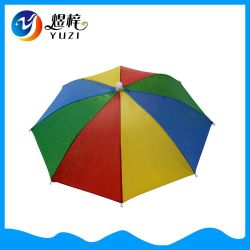 De goedkope Praktische Kleine HoofdParaplu van de Hoed van de Regenboog van de Grootte