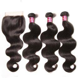 閉鎖が付いているレースの閉鎖4X4 Remyの人間の毛髪の束が付いている閉鎖の織り方の束が付いているブラジルの毛ボディ波の束