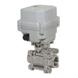 Válvula motorizada DC12-24V 1 1/4'' de 2 vías de SS304 de 2 hilos eléctricos
