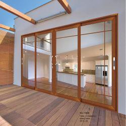 機密保護のフランス人の外部のアルミ合金の緩和されたガラスのスライディングウインドウのドアの現代家の内部の入口のグリルデザインのアルミニウム鋼鉄テラスのドアの価格