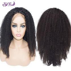 Afro-verworrene lockige Menschenhaar-Perücke-natürliche Farben-Spitze-Perücken