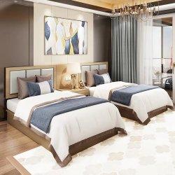 Furnierholz-Teakholz-hölzerne Furnier-Blattmelamin-Hotel-doppeltes Bett-Entwurfs-Möbel