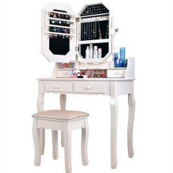 드레싱 테이블 현대적이고 심플한 솔리드 우드 드레싱 테이블 테이블 및 대변 조합 침실 작은 아파트 배니티 거울