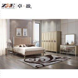 Modernes und klassisches widergespiegeltes Luxuxschlafzimmer des goldene Farben-königliches König-Size Bed Room Furniture