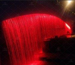 Digital puente en la pared de cortina de fuente de agua
