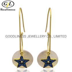 Moda 925 Sterling Silver Star Drop Earrings