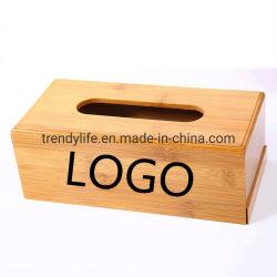 Tissue Box Advertising Desktop Bamboo Houten bak Bottom Box Creative Logo fabrikant van de Car Home Drawer Box Graving