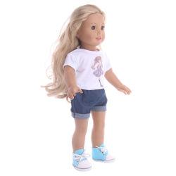 18인치 American Girl 저가 유아용 인형 의류 화이트 티셔츠 팬츠와 함께