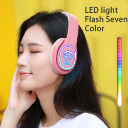 최고의 맞춤형 LED 플래시 Bluetooth 헤드폰(마이크 및 TF 카드 및 FM 라디오 블랙