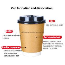 Commercio all'ingrosso ecologico monouso, stampa completa a colori, 260 ml, 16oz Tazze di carta da caffè personalizzate a doppia parete per caffè ad acqua calda Succhi di frutta bere