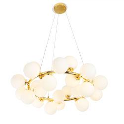 Pós-moderna piscina redonda de ferro de luxo Ouro Negro estrutura redonda e o círculo de vidro branco LED Lustre G9 Luz Pendente de Ouro Preto
