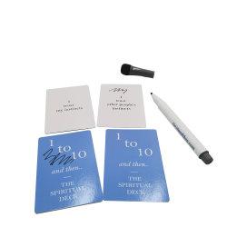 Aangepaste UV-vernis kan schrijven en wissen blanco kaartspel Kaart met markeerpen