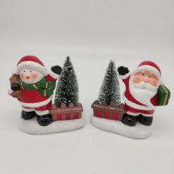 Regalo Handmade di ceramica del pupazzo di neve della Santa di natale con la decorazione della casa della candela