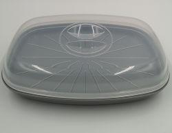O plástico cozidos a vapor peixe de forno de microondas