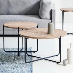 Mobiliário moderno em madeira redonda de Nesting Mármore Sofá lateral mesa de café