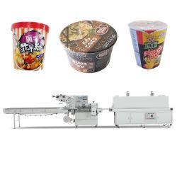 쟁반 깔판 자동적인 절단을%s 가진 우유 차잔 서류상 사발 즉석 면 음식 및 포장하는 수축 패킹 기계장치를 감싸기