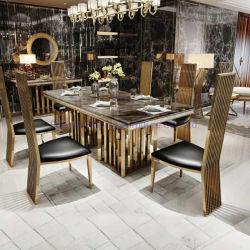 Un mobilier moderne côté salle à manger canapé Table à café de fin du banquet de mariage en plein air Table chaise de salle à manger ronde de pliage 8/10/12 séance de la console en verre de table en marbre