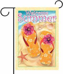 Флаг баннер Добро пожаловать летом пляж двухсторонний дом сад море годовщины двор оформлены на открытом воздухе