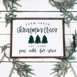 Weihnachtsbäume Shiplap Holz Schild Bilderrahmen Heim Dekor Bauernhaus Rustikale Vintage Wandkunst Weihnachtsschild mit Sprüchen