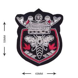 Personalizado de la fábrica de oro y lingotes de plata bordado en hilo de coser insignias, aplique el parche bordado a mano el emblema de la seda india Epaulets Brazalete hombro 150