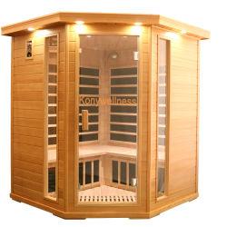 Grosses Sauna-Haus gebildet vom Schierling-Holz und von der Kohlenstoff-Heizung