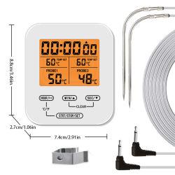 Cocinar los alimentos Digital fumador de carne Cocina Horno Barbacoa termómetro con sondas de acero inoxidable al por mayor