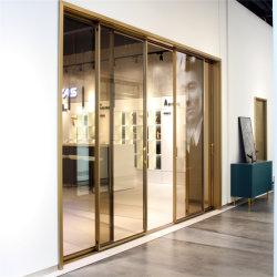 Portello di alluminio del metallo con il comitato trasparente di vetro di colore