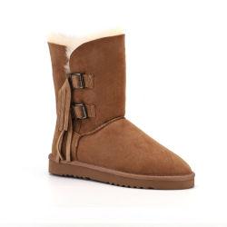 OEM de Echte Schoenen Van uitstekende kwaliteit van de Laarzen van de Vrouwen van de Winter van de Laarzen 2020 van de Sneeuw van het Leer anti-Blokkeert Waterdichte