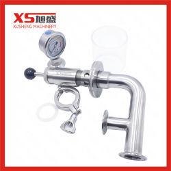 Aço inoxidável Válvula Exhause sanitárias com manómetro