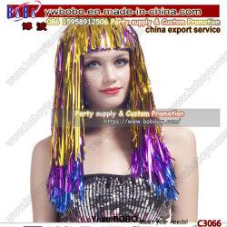 Peruca Cosplay sintético peruca por grosso de claque Garland metálicos multicor as decorações Peruca Festa Favor (C3066)