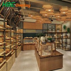 Los alimentos modernos de madera bocadillos de pan de panadería permanente para rack de pantalla