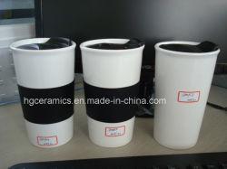 Porcelana térmica com tampa de silicone, parede simples