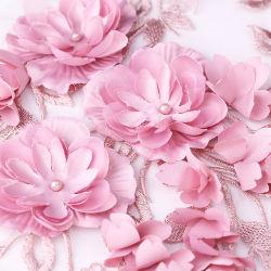 Розовый 3D-Flower кружевной вышивкой ткань