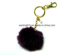 Anello molle sveglio di fascino della borsa del sacchetto di Keychain della sfera della pelliccia del Faux