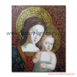 Pittura a olio santa della madre di qualità Handmade del museo su tela di canapa Cracked