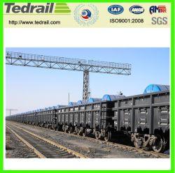 Ferrocarril de vagones de madera con bloques