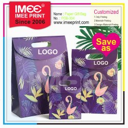 Commerce de gros Cutstom Imee Imprimer Crochet et boucle Flamingo Gâteau de bonbons transporteur vin cadeau sac de papier commercial de la poignée