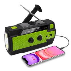 懐中電燈が付いている携帯用手動クランクの充電器AM FMの太陽緊急のラジオ