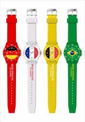 Material de silicio de la Copa Mundial de la caja de plástico relojes de regalo para la promoción