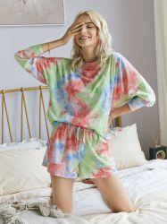 夏の衣服は緩い方法ジャンプスーツの女性のパジャマを結染める