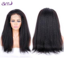Cabello brasileño Kinky Pre desplumados recta peluca de encaje pelo Yaki