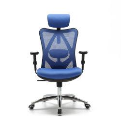 중국식 현대식 회전, 편안한 Sihoo M57 고급스러움, 높은 허리, 인체공학적인 블루 컴퓨터 PU 팔걸이 이그제큐티브 메시 오피스 의자
