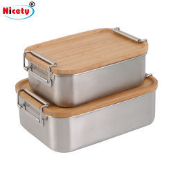 Uitzonderlijke biologisch afbreekbare Keukengerei servies Camping Sushi burger opslag Bamboo deksel Bento Takeaway lunch Box roestvrijstalen voedselcontainers met gespen