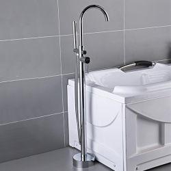 럭셔리 호텔 홈 크롬 바닥 마운트 배스 샤워 믹서 욕실 독립형 욕조 수도꼭지