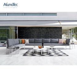 Para todos os climas Sofá impermeável ao ar livre combinação mesa de alumínio