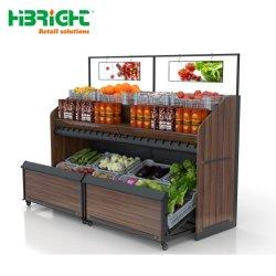 2 étagères de marché de niveau panier de fruits et légumes pour la boutique de rack